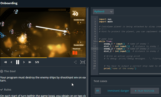 CodeinGame in action