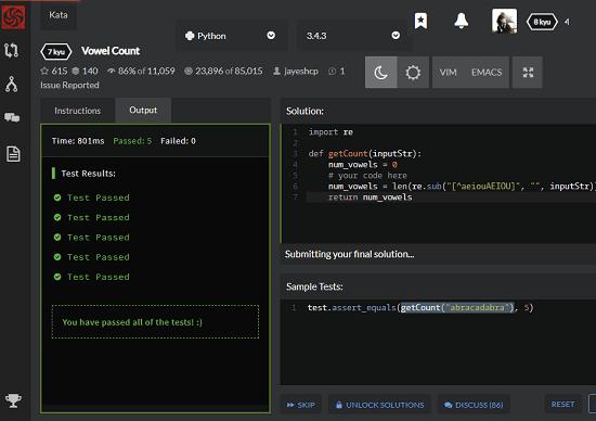 Codewars in action