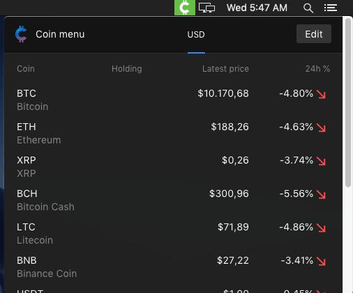CoinMenu in action