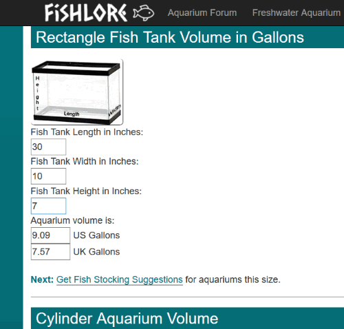 Fishlore.com aquarium volume calculator