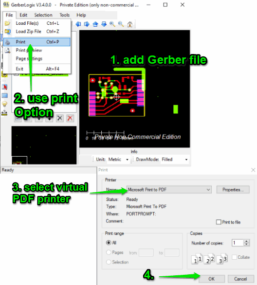 GerberLogix software and virtual pdf printer