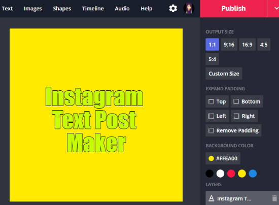 Instagram text post maker