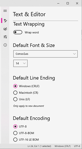 Notepads text editor settings