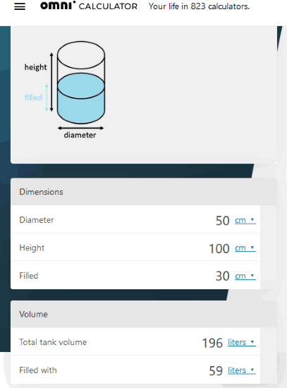 Omicalculator website with vertical tank volume calculator