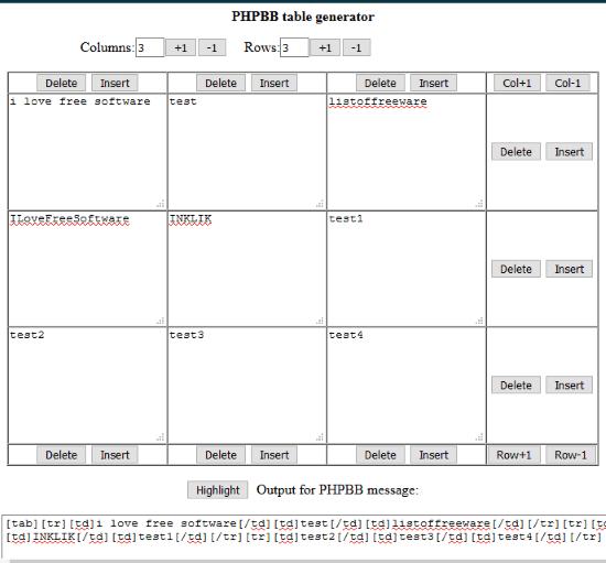 PHPBB BBCode Table Generator
