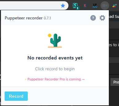 Puppeteer recorder in Chrome