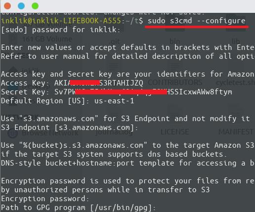 S3 cmd configure