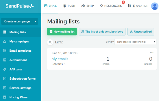 SenPulse A good mailchimp alternative