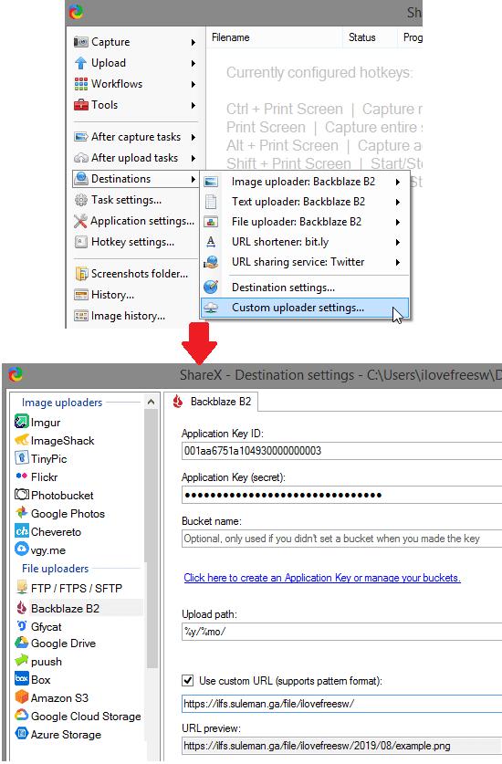 ShareX B2 Settings for keys and uRL