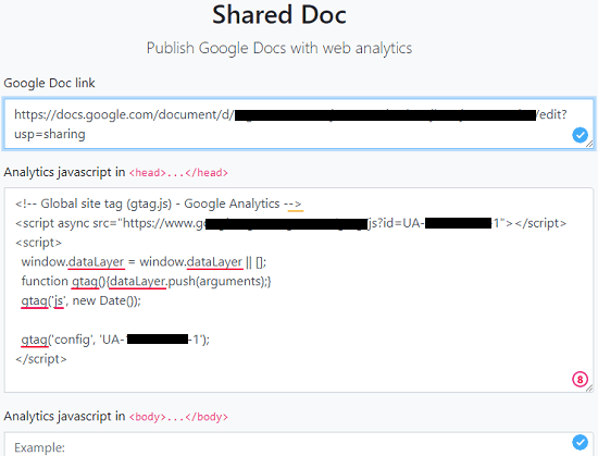 Shared Doc enter Doc URL and tracking code