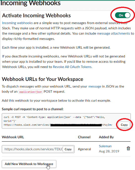 Slack create a incoming webhook