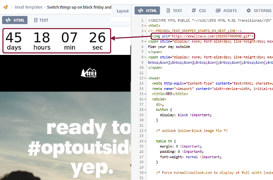 add countdown timer to html emails