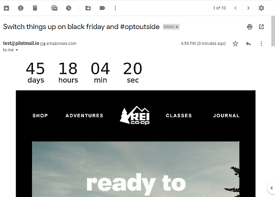 preview of countdown timer in email