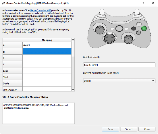 AntiMicro - map controller to the game controls