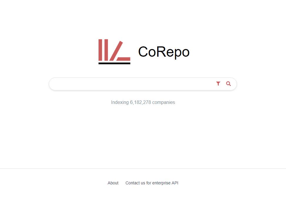 CoRepo company search engine homepage