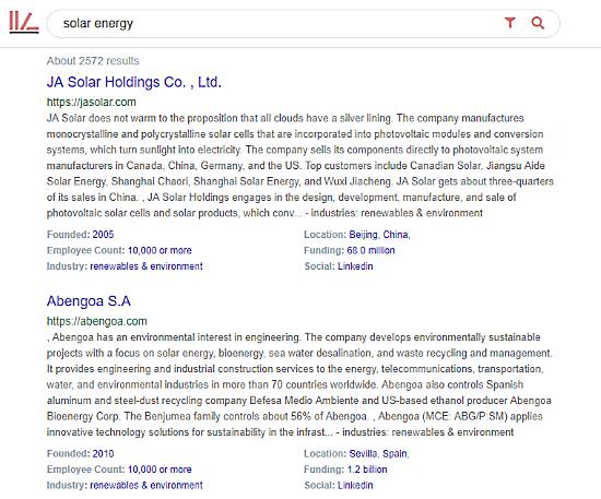 CoRepo company search engine search results
