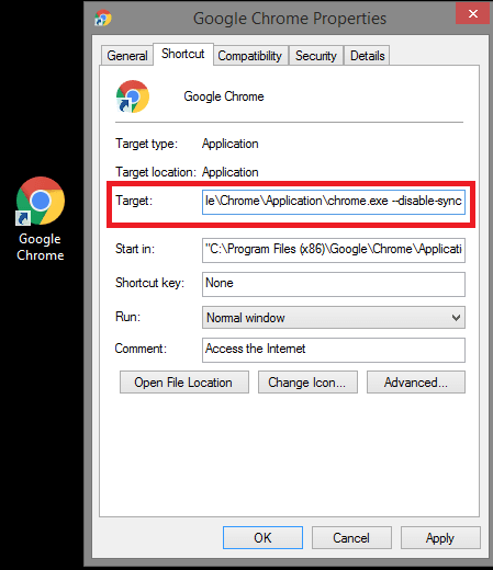 disable sync in Chrome