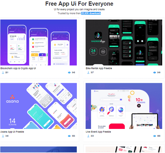 free app UI UX Designs download