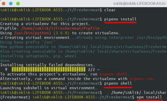 installing and configuring through pipenv