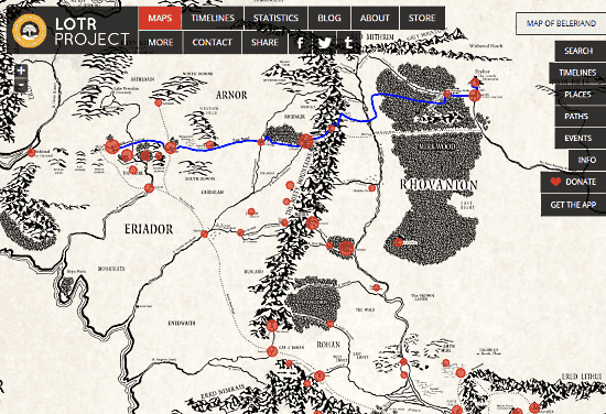 interactive map of middle earth from lord of the rings
