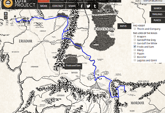 view the paths of lord of the rings on an interactive map