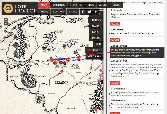 explore the timelines from lord of the rings on map