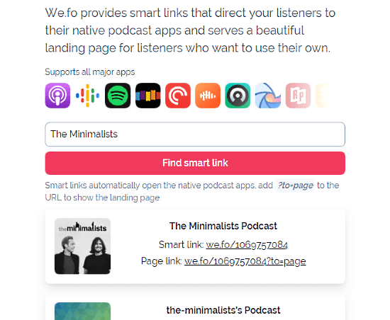 include links to popular podcast platforms in 1 url