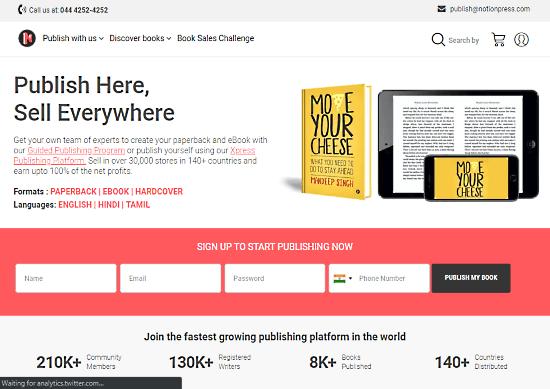 Online Platforms to Self Publish Your Book notionpress