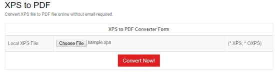 online XPS to PDF converter
