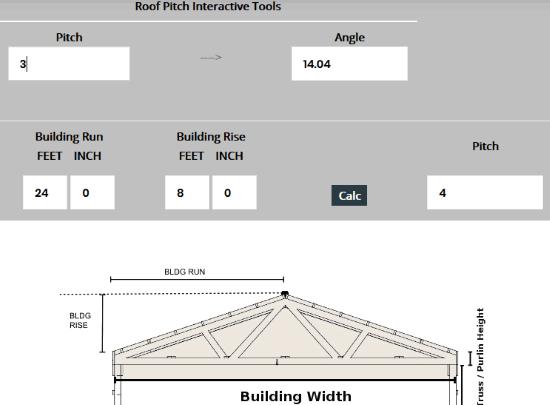 pole-barn.info roof pitch calculator