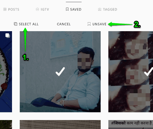 select all posts and then unsave