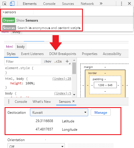 Chrome DevTools Set location in the sensor