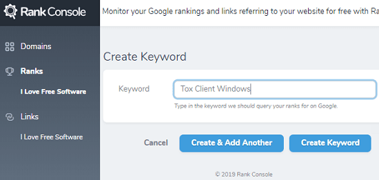 Create Keywords in RankConsole