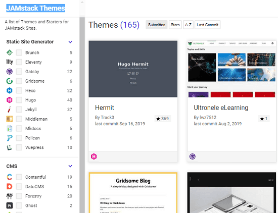 Download Hugo, Gatsby, Jekyll Themes Free for JamStack Sites