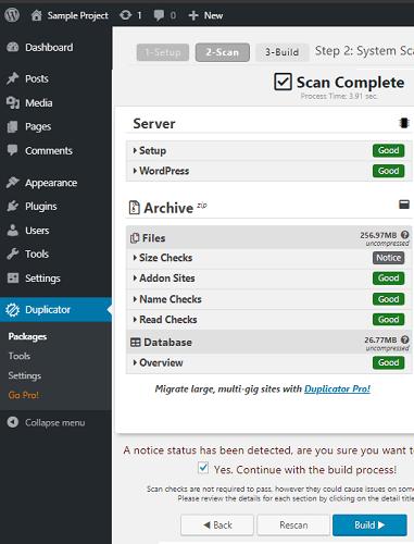 Duplicator WordPress plugin in action