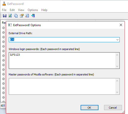 ExtPasswords enter the details of Win