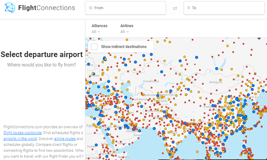 FlightConnections Map interface