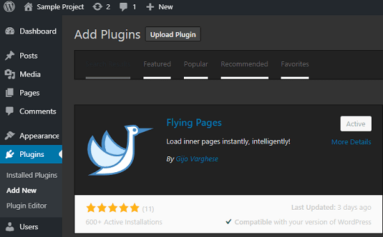 Flying pages plugin interface