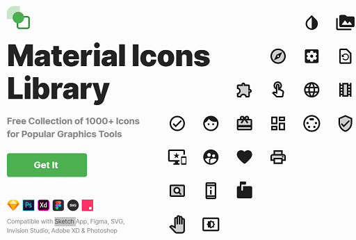 Free Material Design Icons Pack for Figma, Sketch, XD, Photoshop