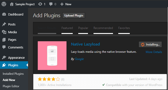 Installing Native Lazyload wordpress