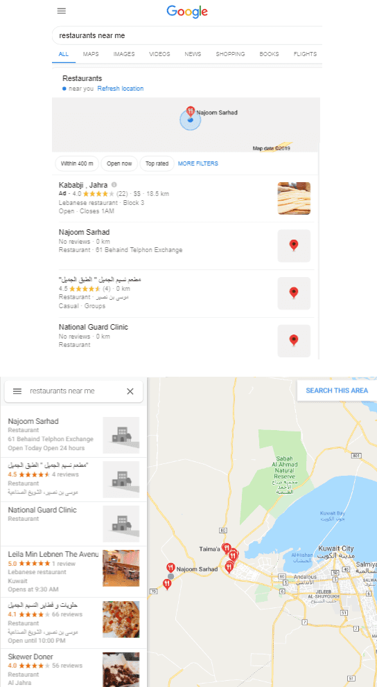 Local search results in Google Chrome in action