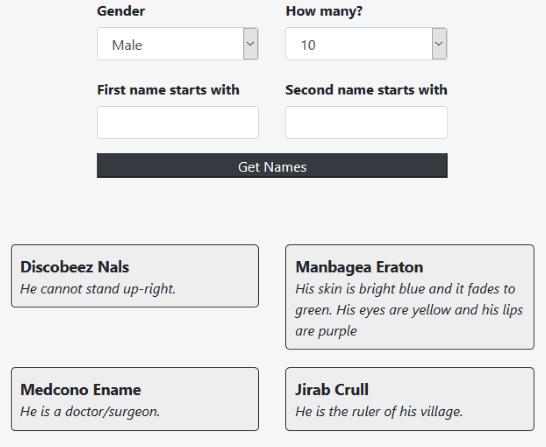 Namegenerator.co website