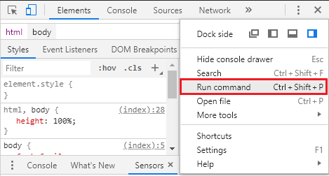 Run command option in Chrome DevTools