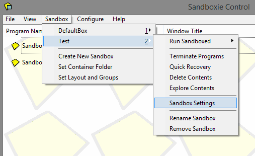 Sandboxie settings