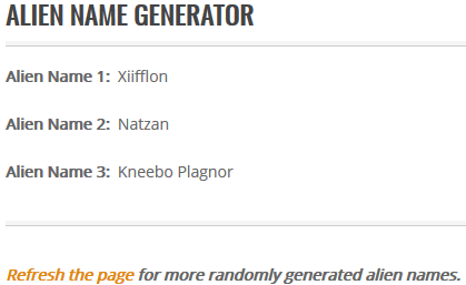 SciFi Ideas Alien Name Generator