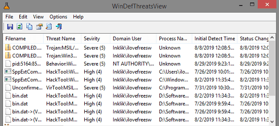 See list of Threats Detected by Windows Defender with free tool by Nirsoft