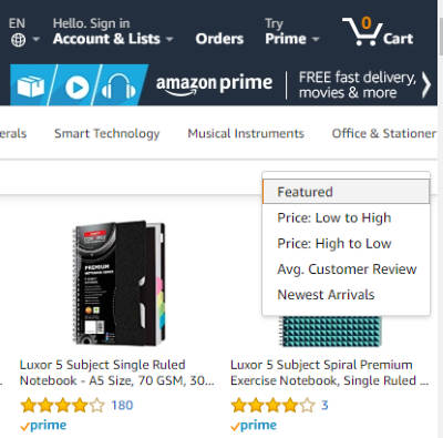 Sort Amazon search results