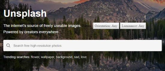 Unsplash advanced search filter