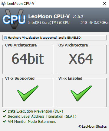 check hardware virtualization support with LeoMoon