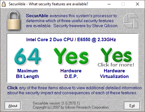 check hardware virtualization support with SecurAble
